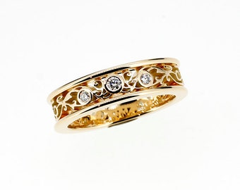 Diamond filigree engagement ring made from yellow gold, filigree wedding band, unique, diamond ring, anniversary, filigree wedding band