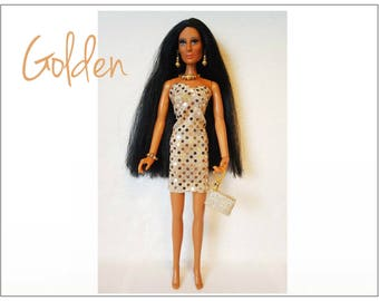 OOAK CHER Doll Clothes - GOLDEN Dress, hand-beaded Purse and Jewelry - fits vintage Mego Farrah, Tennille - Custom Fashion - by dolls4emma