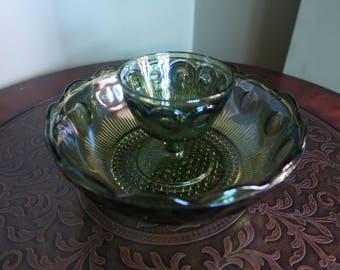 Bartlett Collins Avocado Green Retro Chip and Dip Bowl, Manhattan Bulls Eye Pattern Serving Bowl