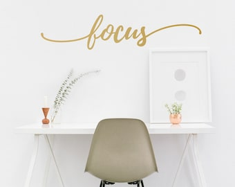 Focus Quote Decal - Typographic Inspirational Motivational - Wall Decal Custom Vinyl Art Stickers for Office, Creative Space, Living Room