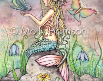 Creekside Magic 9 x 12 Mermaid Fantasy Watercolor Fine Art Print by Molly Harrison
