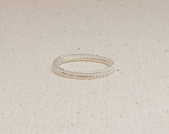 Double Twist Sterling Silver Stacking Ring
