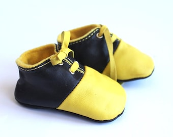3-6 Months Slippers / Baby Shoes Lamb Leather Yellow and Black