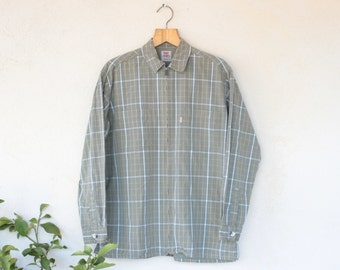 Vintage Levis Checked Green Coat/Over Shirt - Medium