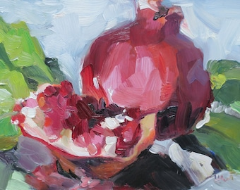 oil painting , impressionism still life , original painting , red , pomegranate, holiday , seasonal , Christmas , home decor , 5 x 7