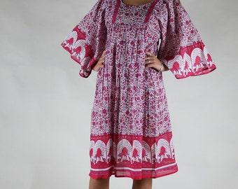 Red cotton boho vintage print beach dress