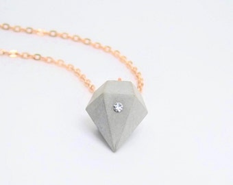 Necklace concrete diamond with glass crystal Chaton-gold-Gift