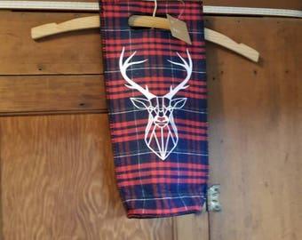 WINE GIFT BAG geometric deer silhouette on plaid felt