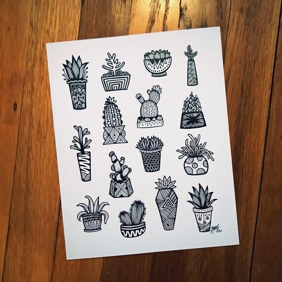 Zentangle - Little B&W Succulents