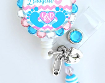 Labor and Delivery Nurse ID badge reel, baby feet badge Holder (E60)