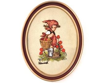 Vintage Framed Crewel Dutch Girl With Flowers - Dutch Crewel - 1970s Crewel Embroidery - Vintage Crewel - Framed Crewel - Folk Art - Dutch