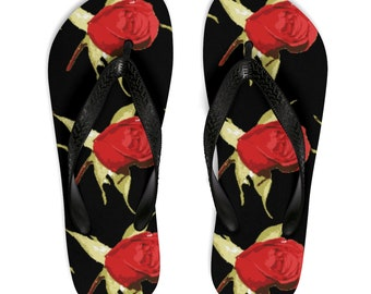 Red Rose FlipFlops,red,roses,sandals,Boricua,black,red,woman,girls,