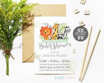 Jungle Zoo Safari Baby Shower Invitation Template • Printable Instant Download PDF DIY Template • Gender Neutral Baby Shower Invitation