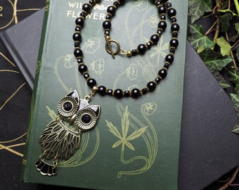 Magical OWL Necklace with Antique French Jet beads and Black Onyx  - Lilith - Pagan, Magical, Goddess