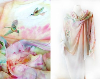 Silk Shawl Hand Painted Silk Wrap Silk Chiffon Veil One of a Kind Hummingbirds and Peonies Custom Made