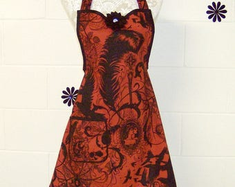 Women's Gothic Apron, Alexander Henrys After Dark, Red & Black, Party Hostess Gift / Ladies Gift  / Party Hostess Apron / #B95