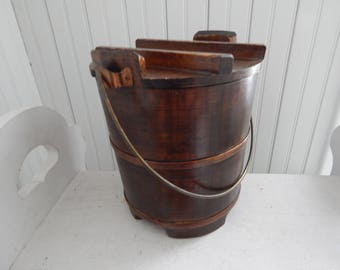 Large Wood Sugar Firkin Bucket w/Cover & Wire Handle - Vintage Stave Wood Sugar Bucket - Country Farmhouse Kitchen Wood Bucket with Cover