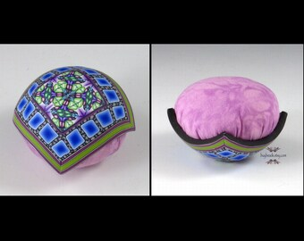 Polymer Clay Pincushion, Handmade, Lime Green, Cornflower Blue, Purple