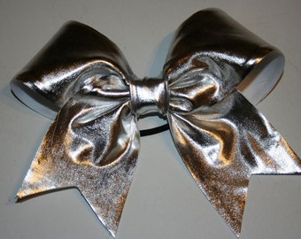 Liquid Silver Metallic Hairbow great for Cheerleading GLITZ Glamour by Funbows