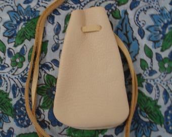 Plain willow colored deerhide amulet pouch