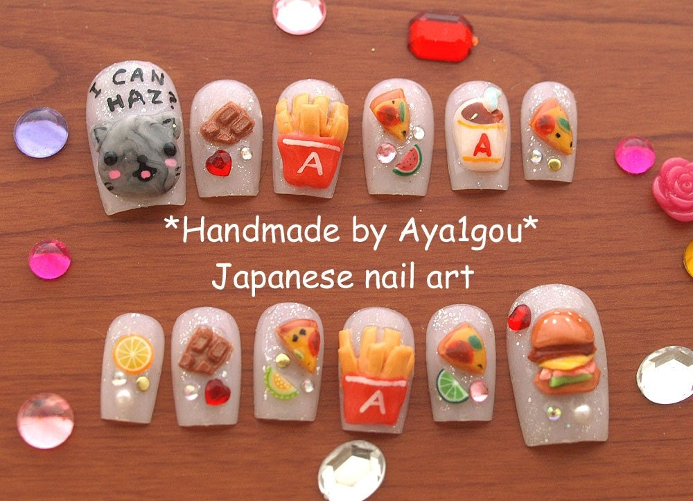 Japanese 3D nails, cat, fast food, hamburger, potato, pizza ...