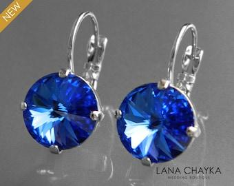 Sapphire Crystal Earrings Swarovski Blue Rivoli Leverback Earrings Wedding Royal Blue Silver Bridal Earrings Birthstone September Earrings