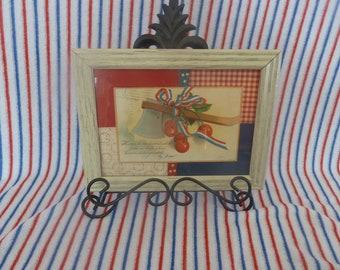 Antique Patriotic Postcard Framed, 1909  Hatchet/cherries George Washington, patriotic home decor