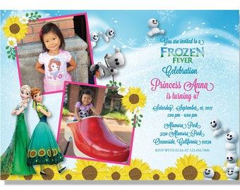 Frozen Fever Summer Birthday Invitations - Digital File