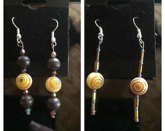 Yellow swirl beaded earrings