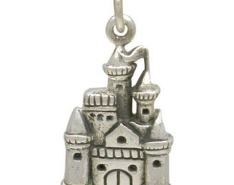Charm,  Fairy Tale Castle, Sterling Silver, 21x10mm - 1 Pc Wholesale Price (12834)/1
