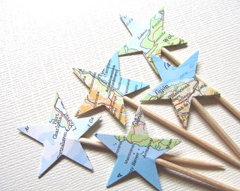 Vintage Map Star Cupcake Toppers, Party Decor, Double-Sided,  Atlas, Travel, Birthday, Celebration, Graduation, Set of 15