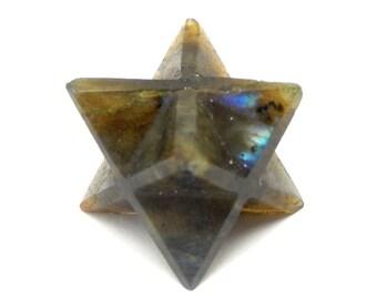 Merkaba Star - Labradorite Merkabah Star - Chakra - Meditation - Metaphysical (RK80B5-02)
