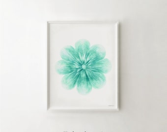 Flower wall art Turquoise decor, Printable wall art print, Bedroom decor, Turquoise flower art print, Bathroom wall decor Flower wall print