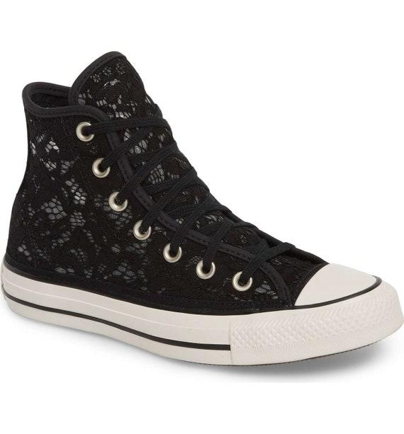 Black Converse High Top Noir Bridal Lace Crochet Knit Wedding Chuck Taylor w/ Custom Swarovski Crystal Bling All Star Bride Sneakers Shoes