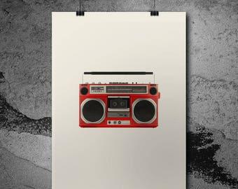 Ghetto Blaster Print - Retro Ghetto Blaster Framed Print - Retro Picture - Retro Art - Great Framed Christmas Gift - Retro Gift