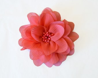 "Coral Chiffon Flower with Center. 4"" Coral Fabric Flower. ISLA Collection."