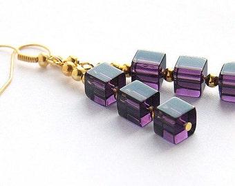 Statement Jewelry Modern Geometric Earrings Purple Stacked Cube Earrings Silver or Gold Earrings Amethyst Glass Beaded Earrings Minimal