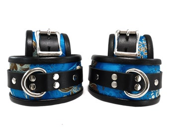 BDSM Leather Cuff Set Wrist and Ankle Cuff Set with Optional Blindfold or Collar in Turquoise Brocade