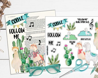 """Printable Bible Journaling Page Kit - """"Follow Me"""" - Complete kit for Bible Pages or Journals. Fits all Journaling Bibles."""