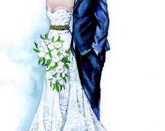 Custom Wedding Illustration , Bride Groom Portrait, Wedding Gift, Custom Wedding Custom illustration of 2 persons