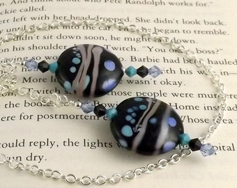 Jane Lampwork Glass Swarovski Crystal and Chain Bookmark aka Book Thong a perfect addition to your library