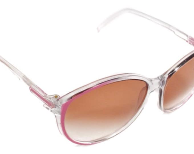 Vintage 70s Foster Grant Deadstock Clear Pink Oval Shades Sunglasses