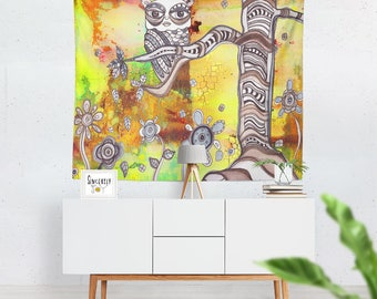 Abstract Owl Tapestry Original wall hanging art tapestries abstract tapestries bohemian tapestries colorful tapestry boho tapestry owls art