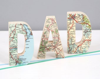 Set of three personalized location map letters - Father's day gift - Birthday gift for dad - Dad gift - world map gift
