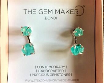 Blue Apatite Silver Drop Earrings. WEAR 2 WAYS. Silver Apatite Earrings. Silver drop earrings. Silver gemstone earrings. Apatite earrings.