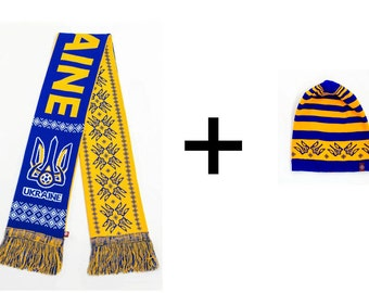 Knitted hat and scarf for Ukrainian fans, warm and soft, great quality