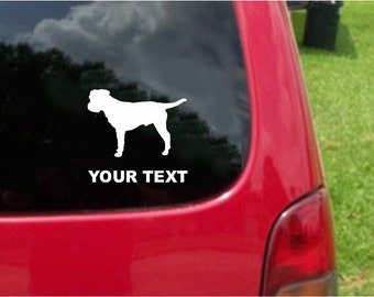 Set (2 Pieces) Border Terrier Dog   Sticker Decals with custom text 20 Colors To Choose From.  U.S.A Free Shipping