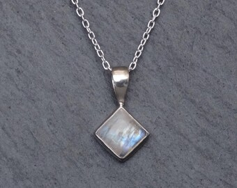 Rainbow Moonstone Pendant, Moonstone and Silver Pendant Necklace, June Birthstone, Rainbow Moonstone Jewellery, Sterling Silver 925