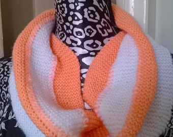 White and peach snood