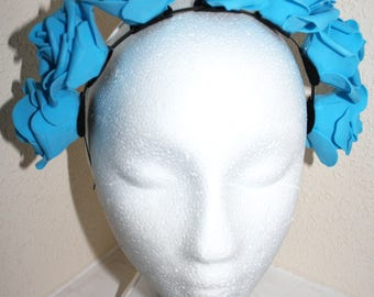 Flower Crown Headdress Blue Rose Headband Headpiece Azure Flowers Pretty